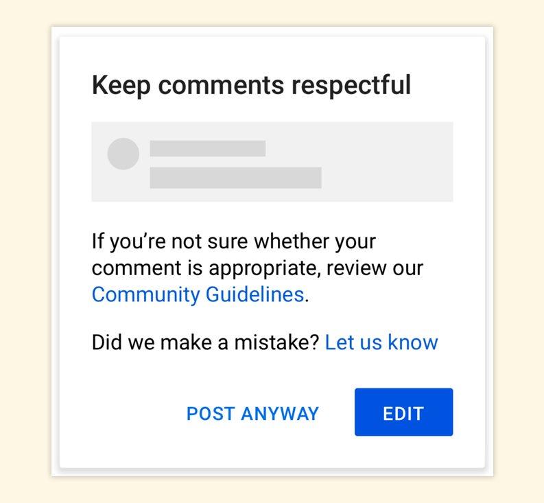 YouTube предложит подумать перед публикацией негативного комментария