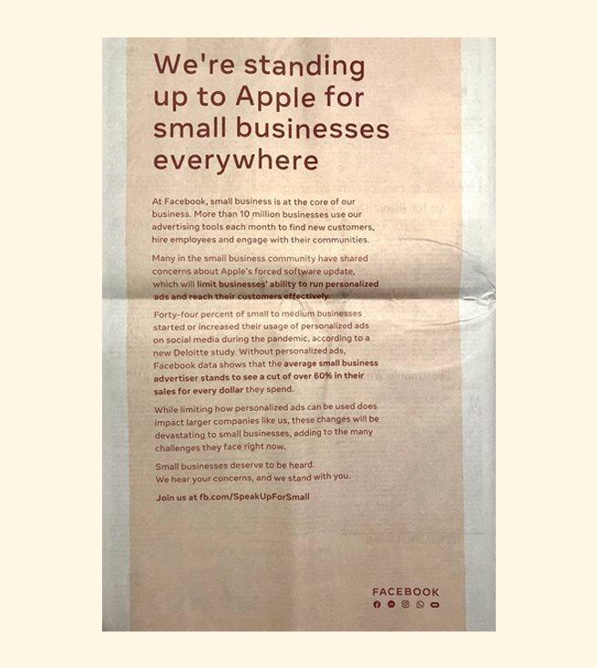 Facebook критикует Apple с помощью газетной рекламы. В чем проблема?