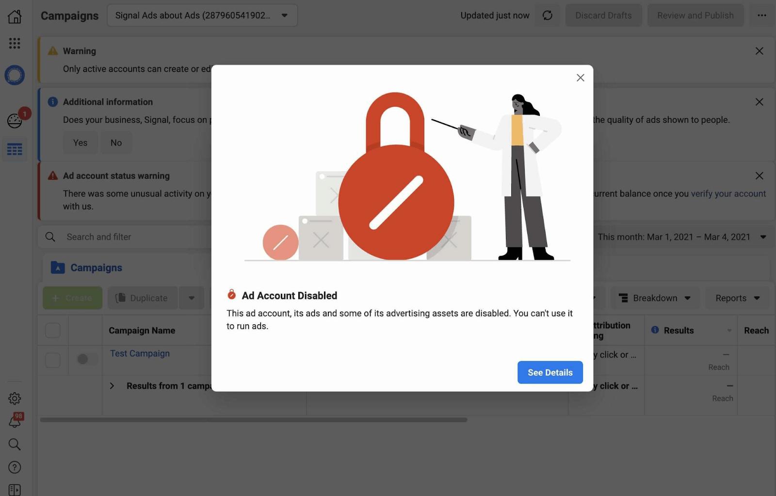 Рекламный аккаунт Signal в Facebook забанили