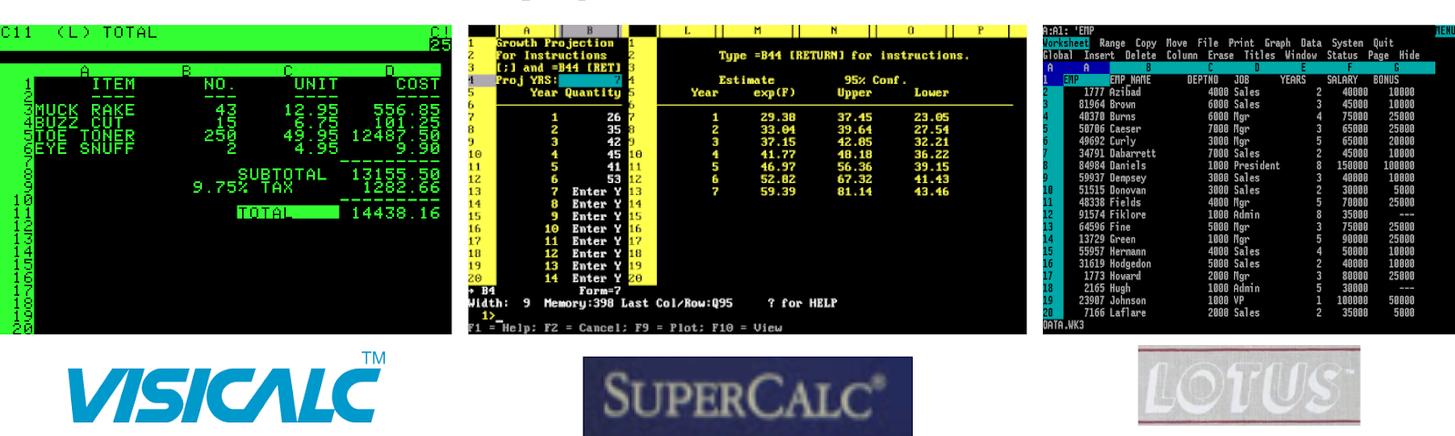 Раннее програмное обеспечение для таблиц
