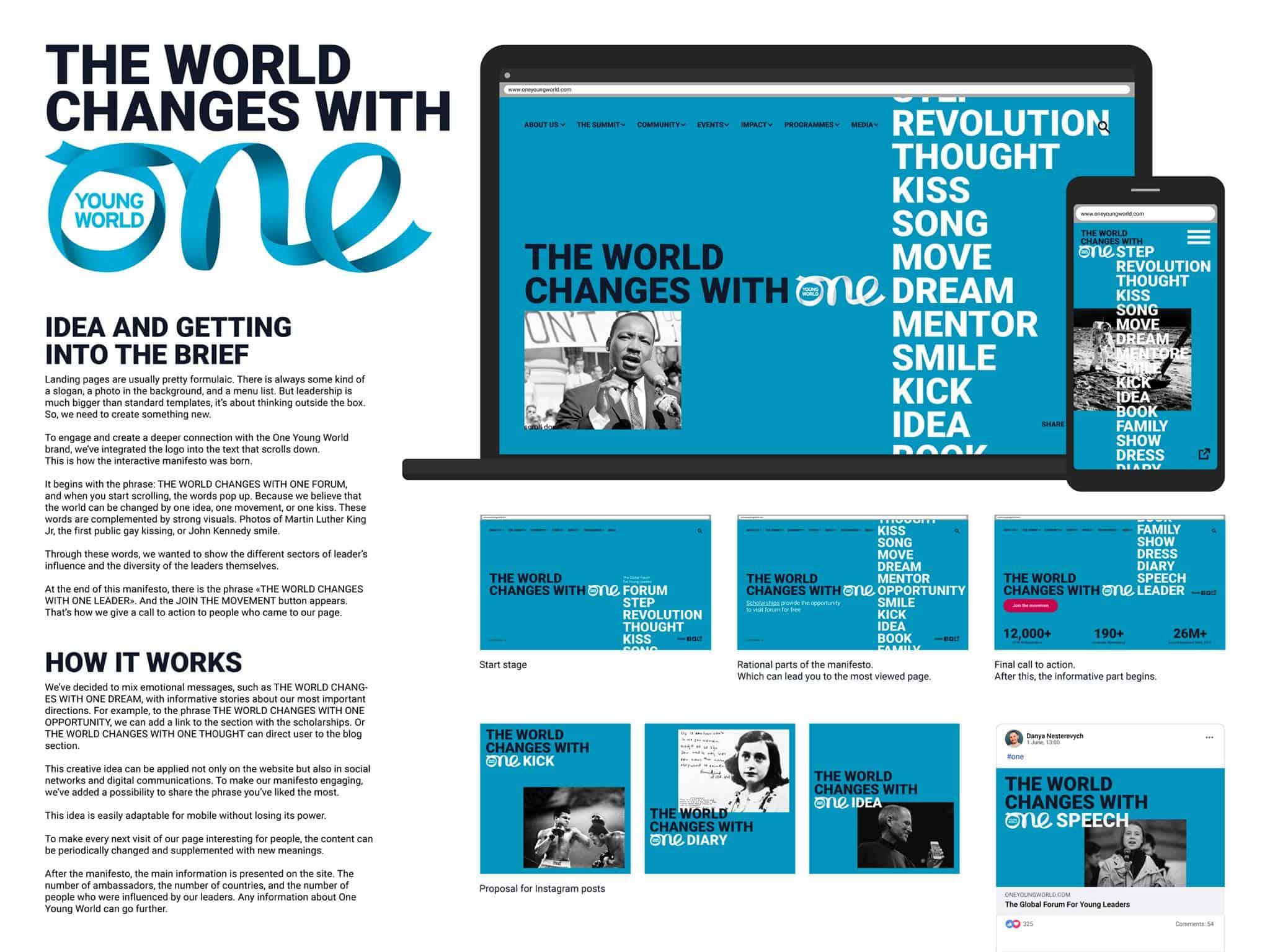дизайн главной страницы сайта Форума Молодых Лидеров One Young World