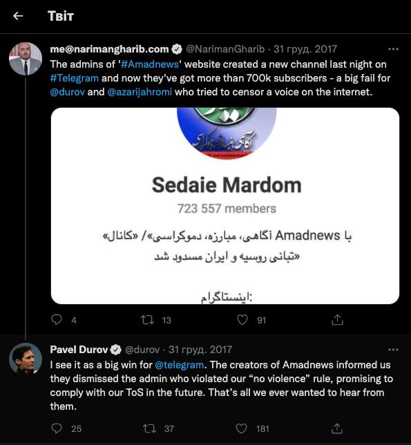 Блокування телеграм в Ірані